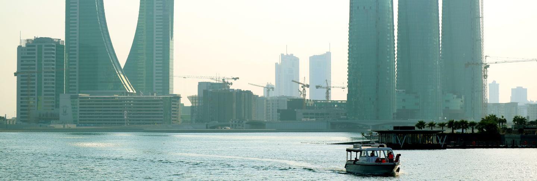 Bahrain financial harbor district with the unique landmark, manama bahrain