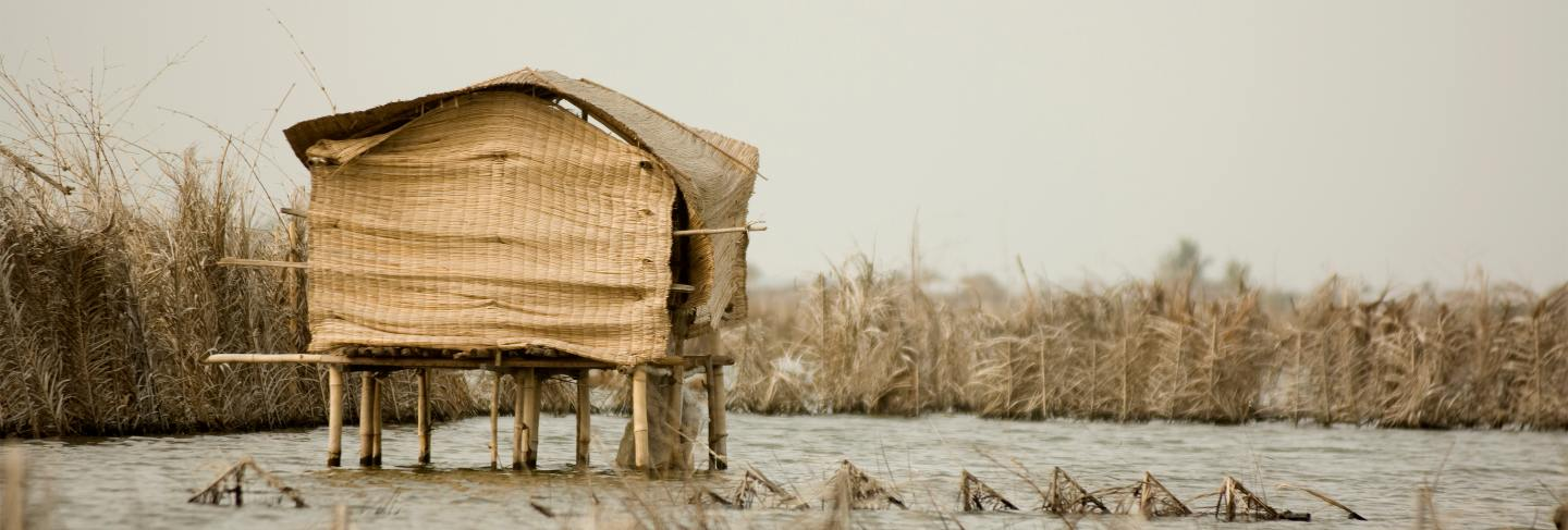 Stilt hut on the lagoon of gavie in benin