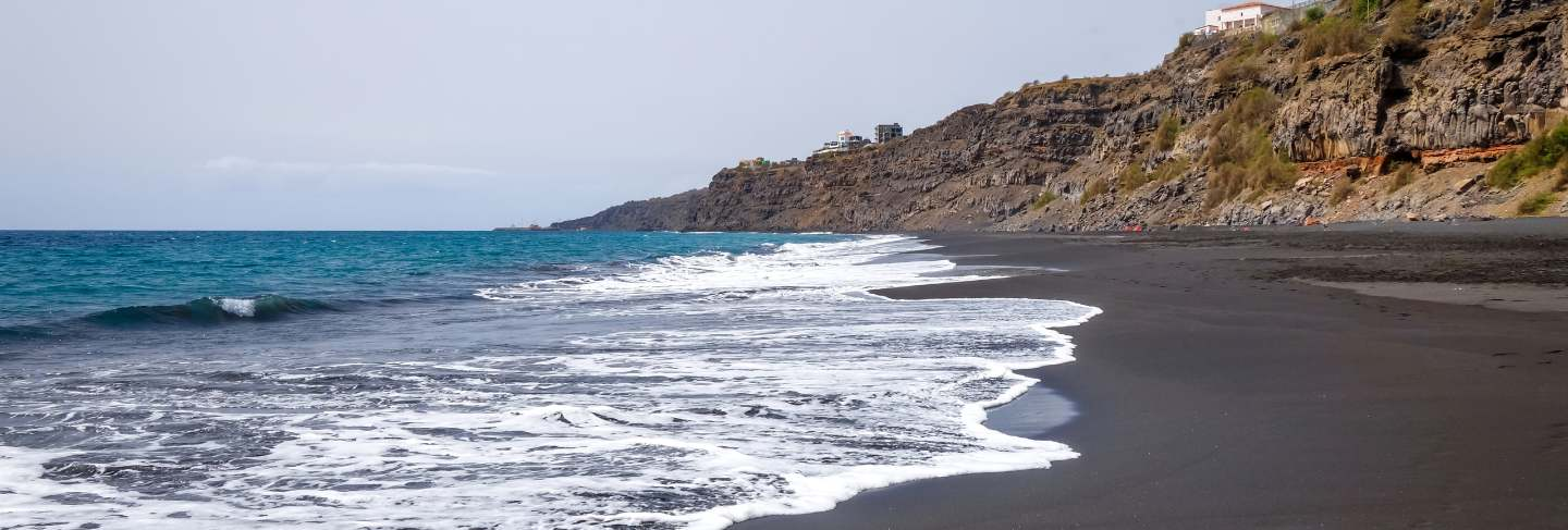 Black sand beach in fogo island, cape verde