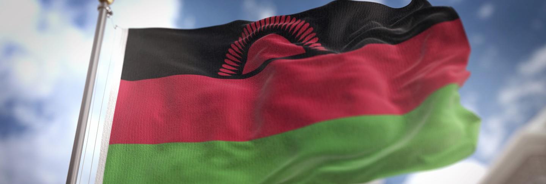 Malawi flag 3d rendering on blue sky building background