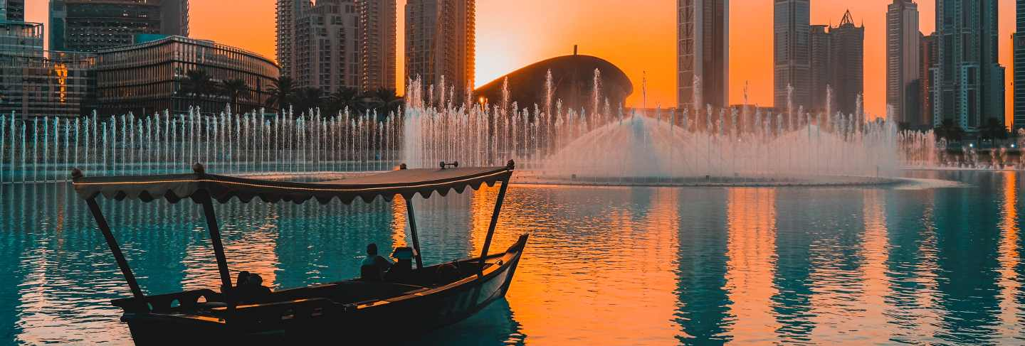 Beautiful evening view of the modern business district of dubai