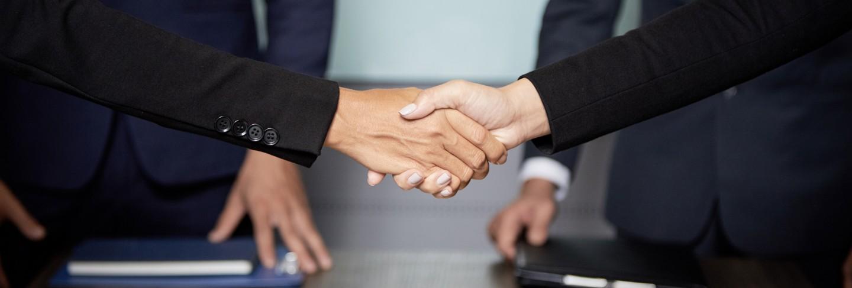 Crop businesspeople shaking hands