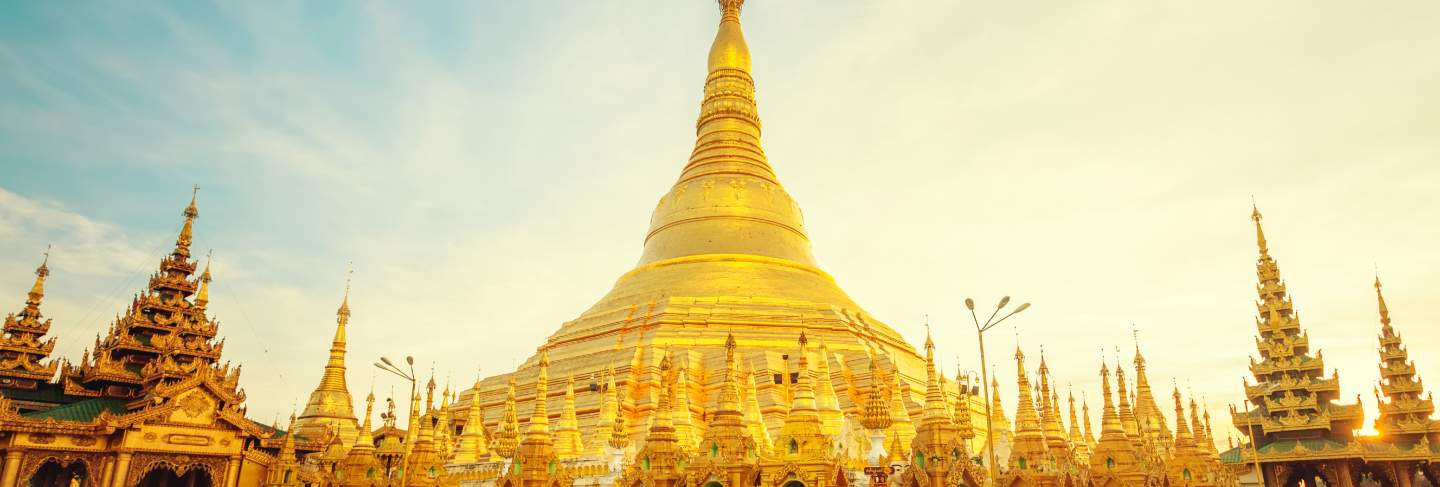 The golden stupa of the shwedagon pagoda yangon