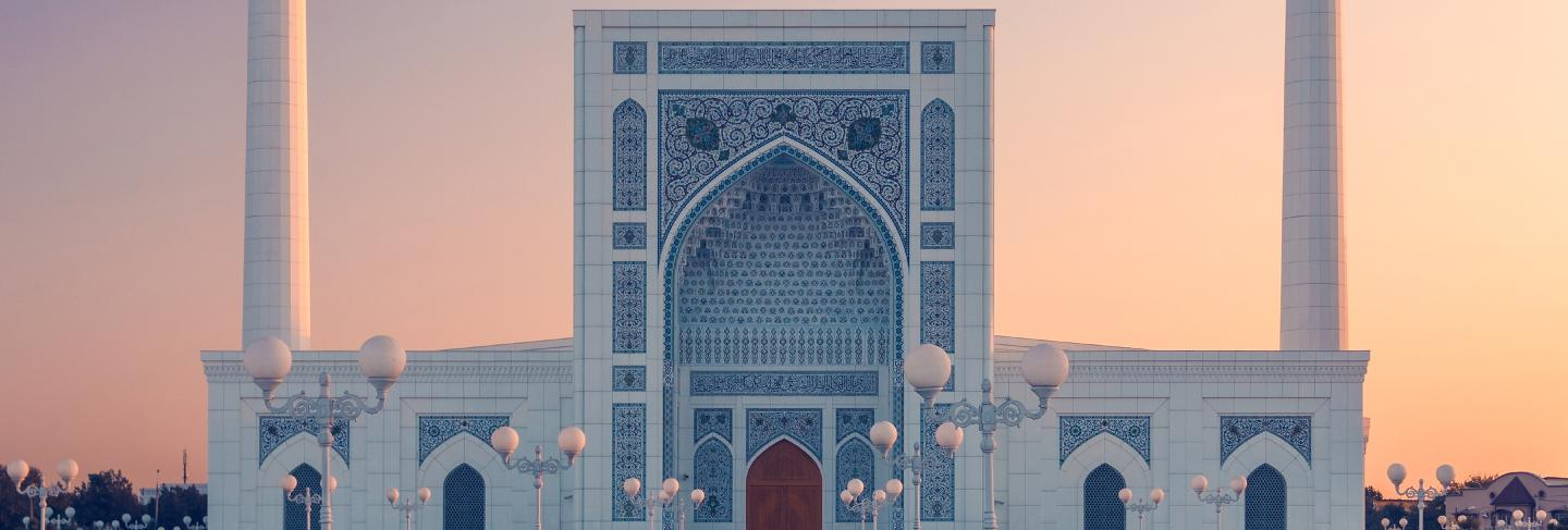 Portal of mosque in tashkent at sunset