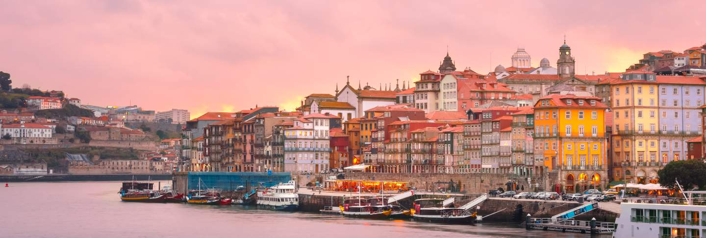 Old town of porto at sunset, portugal.