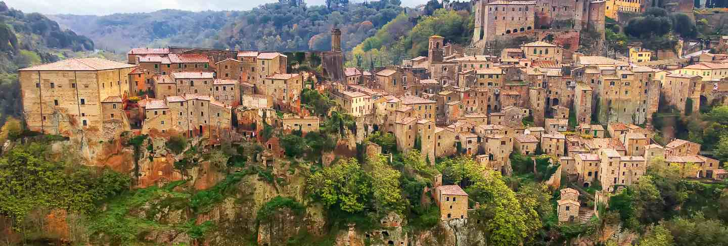 View from above on the medieval town of sorano, in the province of grosseto, tuscany (toscana), italy.