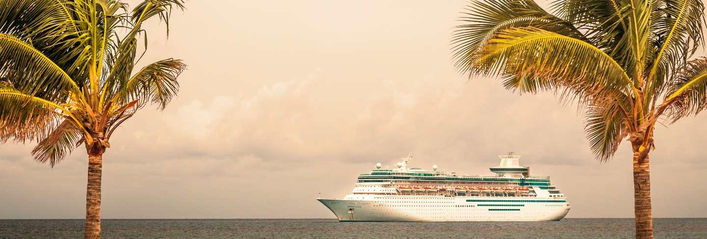 Royal caribbean's ship, , sails in the port of the bahamas
