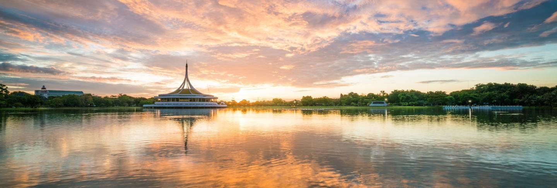 Rama9 public park. beautiful sunrise in rama9 public park in bangkok