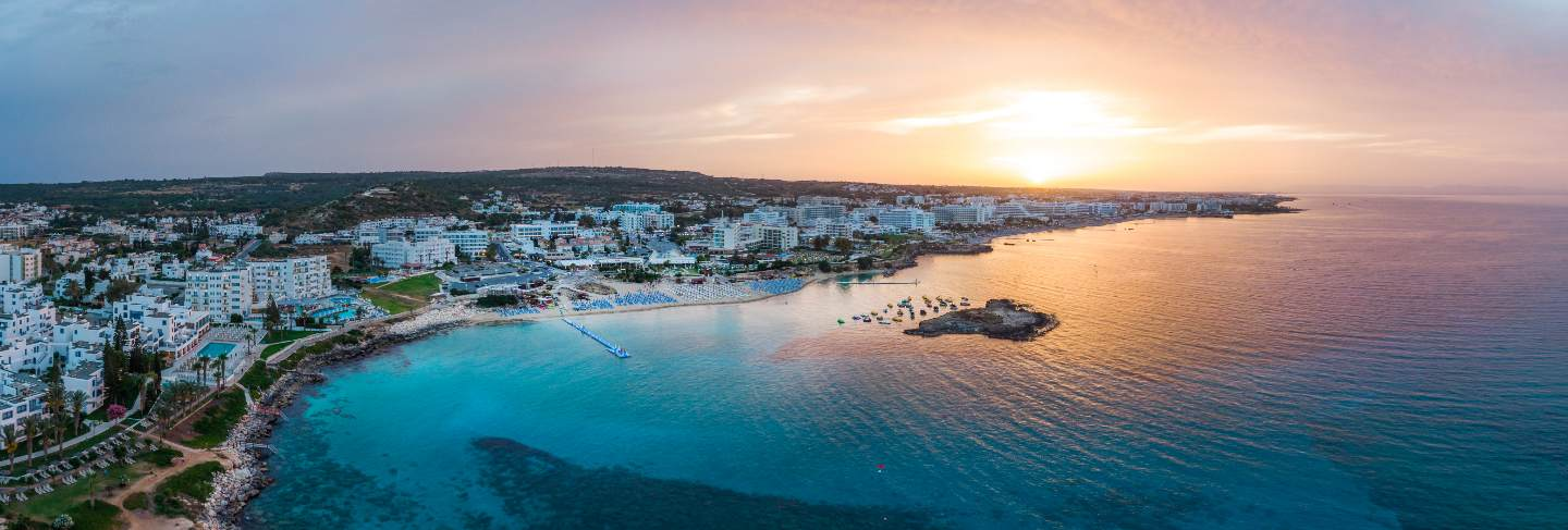 Protaras city at sunset in cyprus