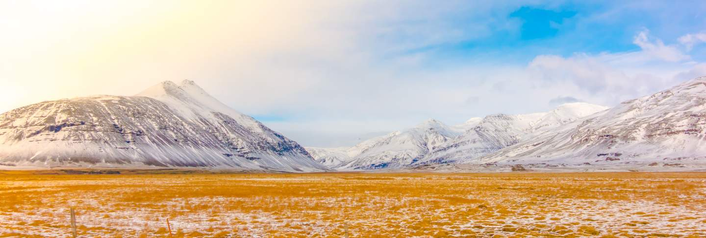 Cold ice snowy mountain panorama