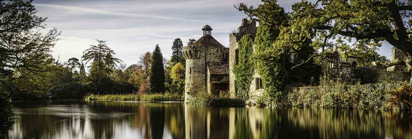 Beautiful scenery of a castle reflecting in the clear lake surrounded by different kinds of plants