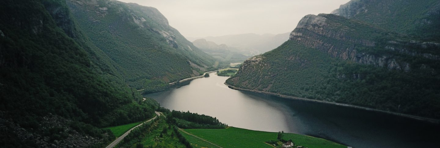 Look from above at river running through the fjords