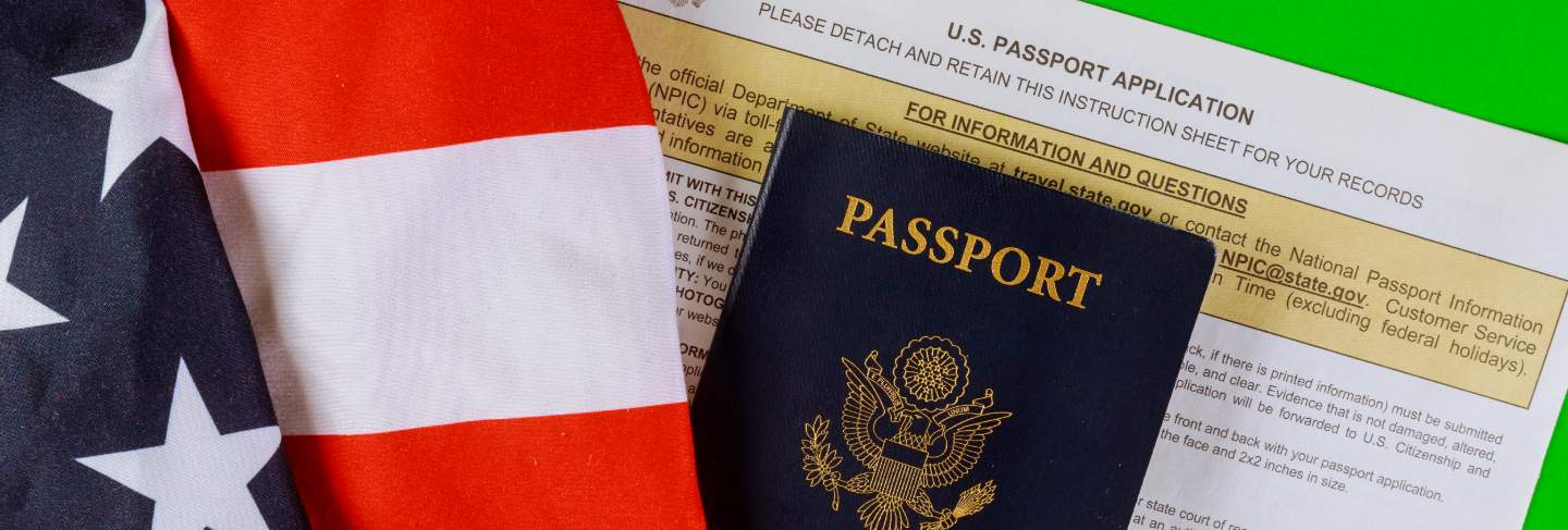 Applying form, passport and usa flag