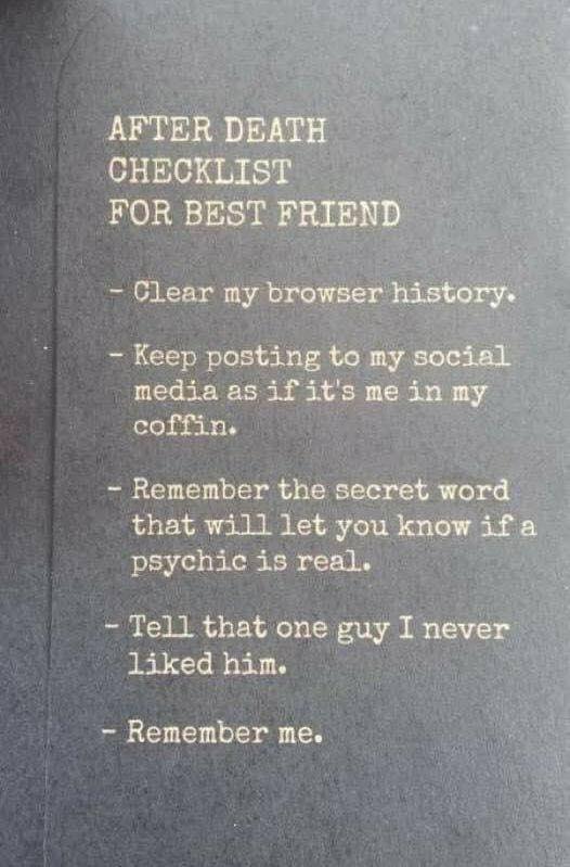 Afterdeath checklist