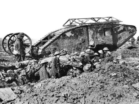 British Mark I male tank at the Somme, 25 September 1916