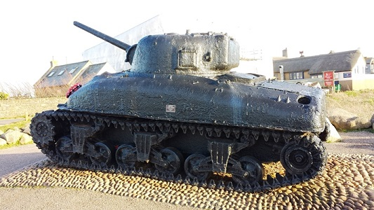 Sherman DD Tank Memorial Site in Torcross, at Slapton Sands, England