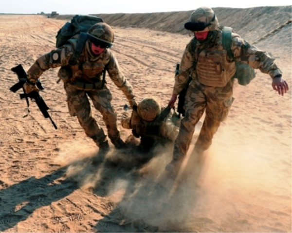 Soldiers practice their medical emergency skills at Camp Bastion - Defence Imagery