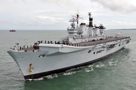 Royal Navy Aircraft Carrier HMS Illustrious. Picture from MOD under the OGL Open Government License