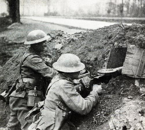 A Lewis gun team at at gun post at Marquois on April 13th 1918 during the battle of the Lys