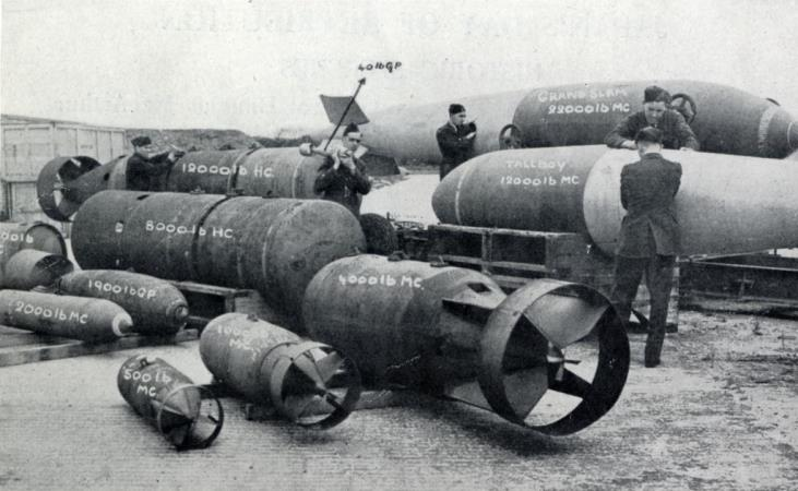 A collection of bombs, for RAF aircraft, ranging from 40-pounders to the Barnes Wallis Grand Slam