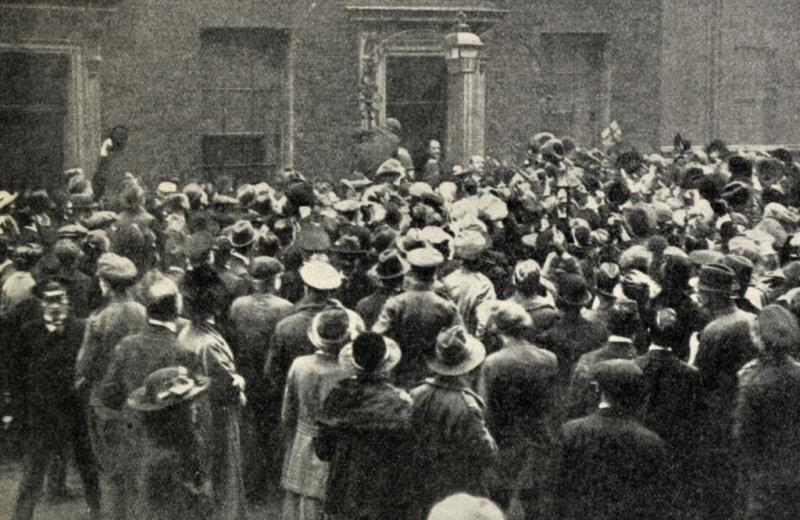 A crowd outside 10 Downing Street on November 11th 1918 celebrating the Armistice waiting to cheer the Prime Minister Mr Lloyd George