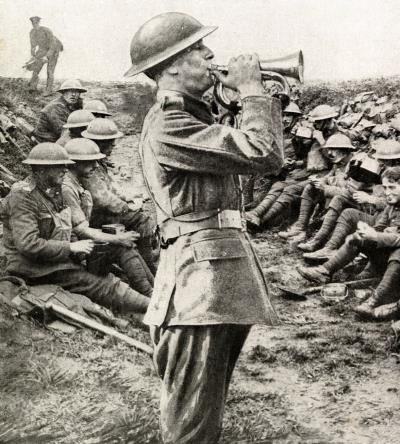 A soldier sounding 'Cease_Fire' at 11am, Nov 11th, 1918