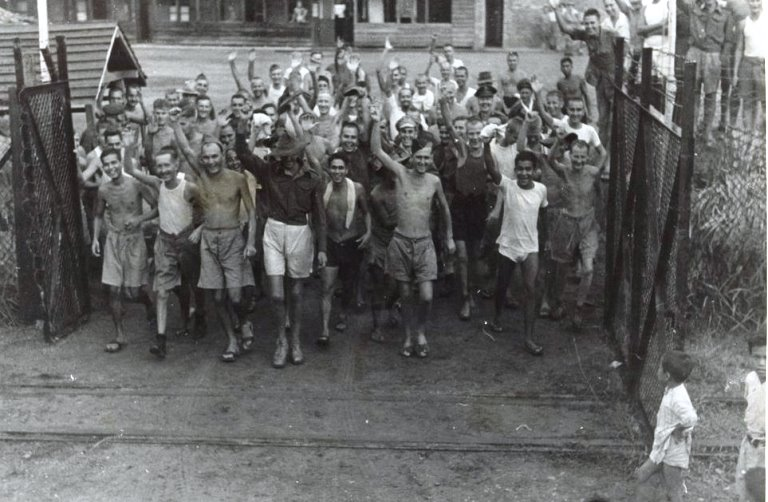 Allied prisoners of war after the liberation of Changi Prison, Singapore 1945 (WIKI Image)