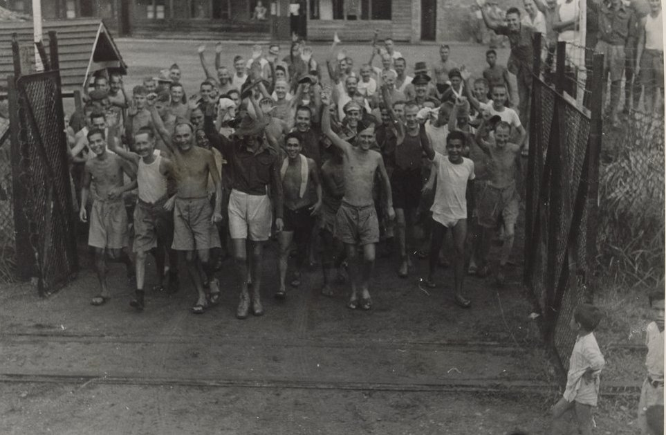 Allied prisoners of war after the liberation of Changi Prison, Singapore 1945