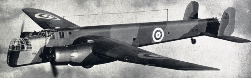 Image of an Armstrong-Whitworth Whitley bomber in flight
