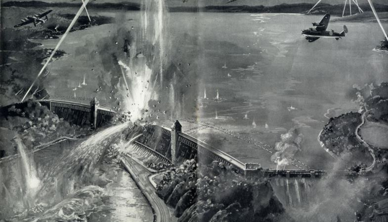 Artist's impression of Lancaster bombers dropping bombs on Germany's Ruhr Dams during a daring low level attack