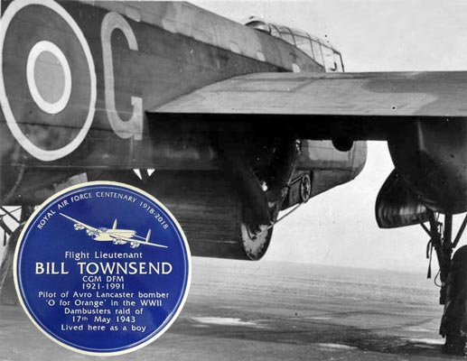 A blue plaque will be unveiled at the former Chepstow home of Dambuster pilot Bill Townsend.
