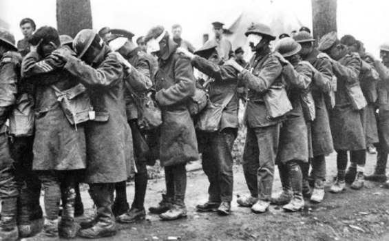 British 55th (West Lancashire) Division troops blinded by poison gas during the battle 10 April 1918