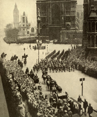 British heroine comes home the body of Nurse Cavell returns to England for funeral with full military honours at Westminister Abbey May 1919