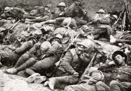 British soldiers, tired-out by sustained resistance to the onslaught on the Somme front, snatching brief sleep while awaiting the renewal of the attack