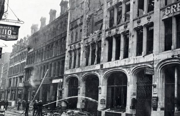 Business premises bombed in London by enemy raiders on 25th August 1940