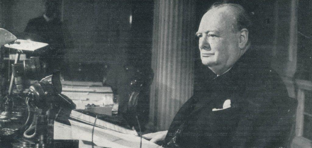 Churchill gives victory speech