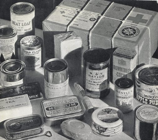 Contents of a Red Cross food parcel sent to Prisoners of War