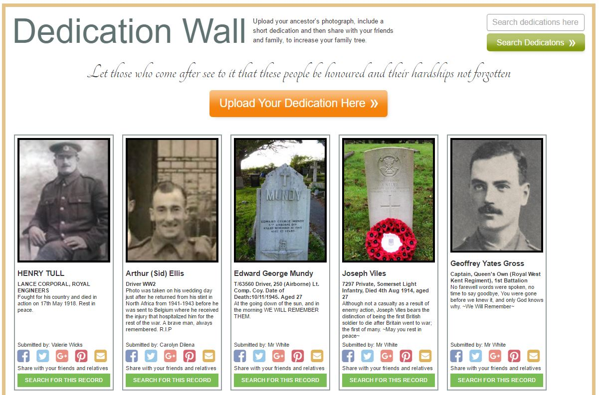 Forces War Records Dedication Wall