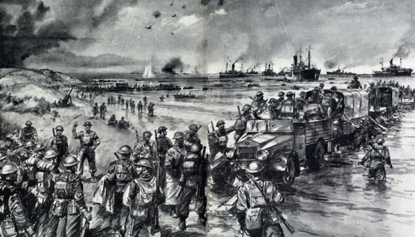 Embarking from a jetty of lorries near Dunkirk