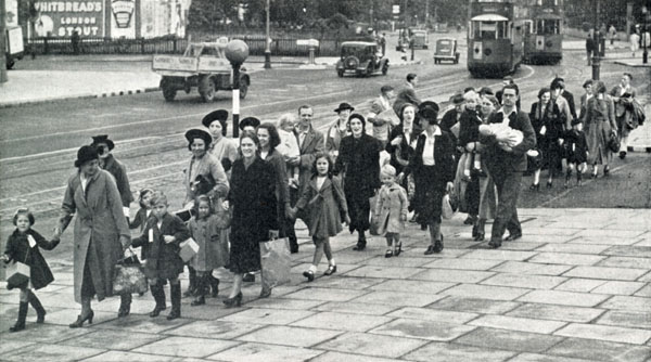Evacuees heading for Railway station in early September 1939.