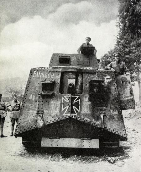 First German tank captured by the British named 'Elfriede'. The Enemy tanks came into action for the first time on April 24th 1918