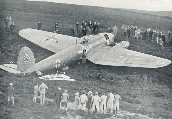 the War's first German aircraft shot down onto British soil.