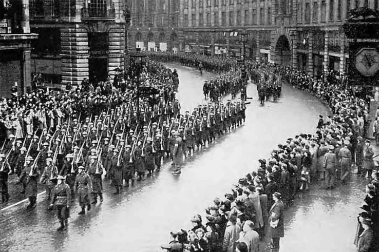 Marching Through Regent Street - Some 7,000 members of the Home Guard marched three miles through London from Hyde park and back again
