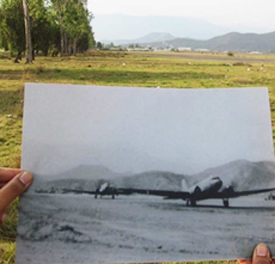 Imphal main airfield, in 1944 and 2017