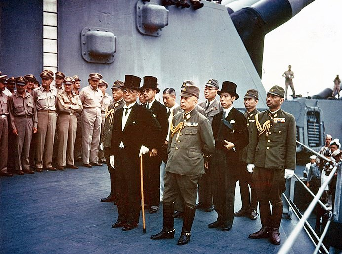 Japanese military leaders onboard USS Missouri during the surrender ceremony on 09/02/1945 [Wiki Image]