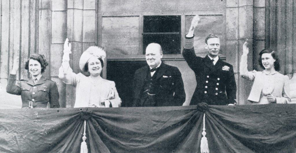 King George VI Queen Elizabeth Princesses Winston Churchill greet crowds Buckingham Palace Balcony VE Day