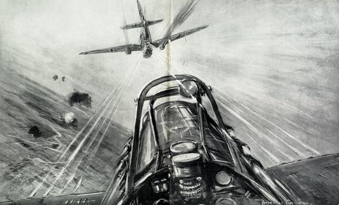 Last moments of an aerial combat between a Heinkel Bomber and a British Fighter