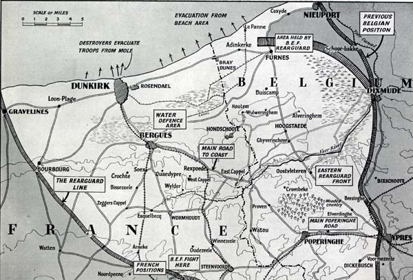 Map showing the successful rearguard action and evacuation from Dunkirk and the surrounding beaches