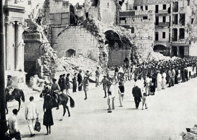 Men of the Royal Malta Artillery marching up Kingsway, Valetta after the presentation of the George Cross to the people of the island