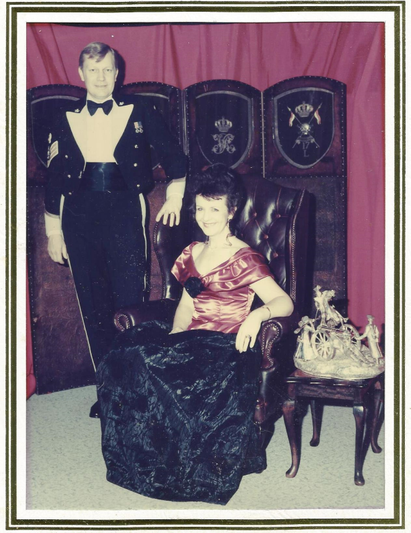 Richard at a Mess dinner night, early 90s, with the wife. Mess dinner nights were held quite regularly for the men, and on special occasions throughout the year wives were invited to attend